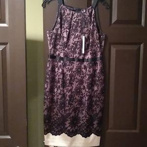 Elie tahari purple and black dress, silk, nwt, 8